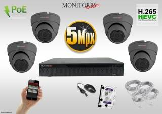 Monitorrs Security IP Dome kamerový set 5 MPix. 1TB HDD  (6173K4)