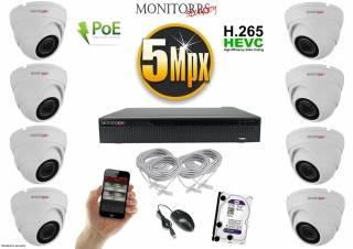 Monitorrs Security IP Dome kamerový set 5 MPix. 1TB HDD  (6292K8)