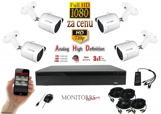 Monitorrs Security AHD 4 kamerový set 2 M.Pix TubeW (6101K4)
